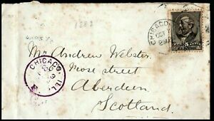 USA 1887 Cover 5 Cents Chicago to Scotland Aberdeen rear Postal History