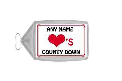 Frugale Amore Cuore County Down Portachiavi Personalizzato-mostra Il Titolo Originale
