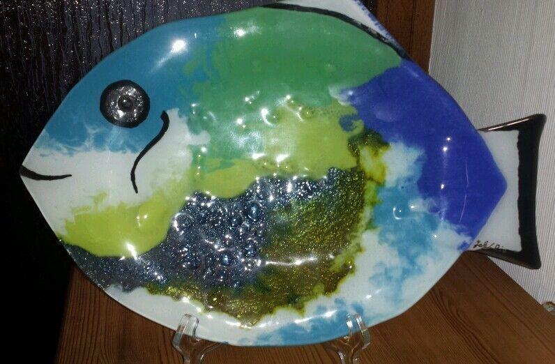 Plaque de Brésil verre par l'artiste de Rio Brésil de poisson plat bol à la main b06ccd