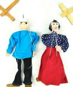 RARE-Lot-2-VTG-Marionettes-String-Hand-Puppets-Popeye-and-Olive-Oyl-Vintage