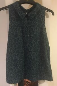 Topshop-Green-Floral-Sleeveless-Top-Size-10-Excellent-Condition