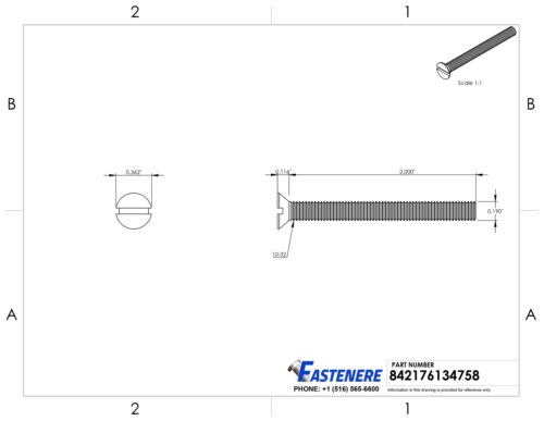 """10-32 x 2/"""" Flat Head Slotted Machine Screws Stainless Steel 18-8 Qty 25"""