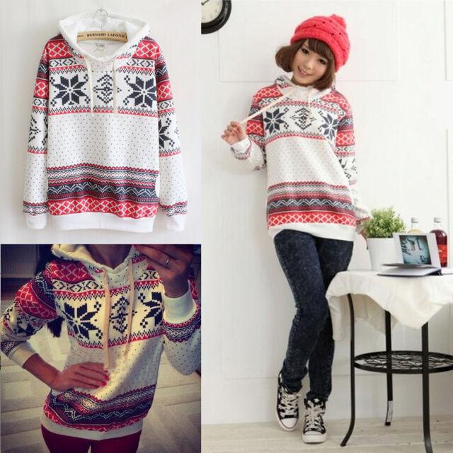 Girls Women Hoodies Snowflake Sweatshirt Hooded Pullover Tops Sweater Tracksuit