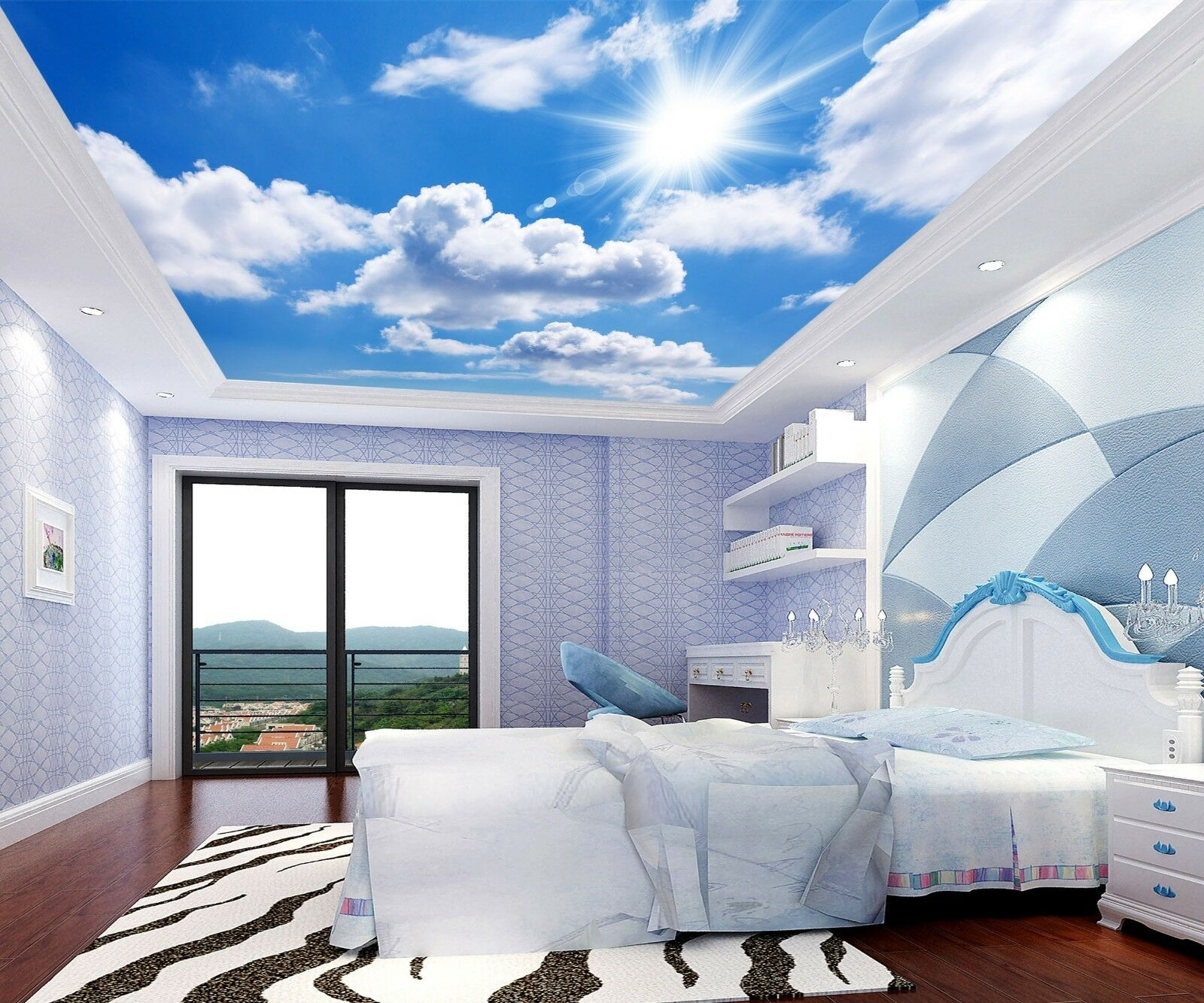 3D Sun White Clouds 43 Ceiling Wall Paper Print Wall Indoor Wall Murals CA Jenny