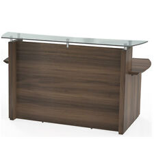 Modern Reception Desk Office With Glass Top Counter Receptionist Station 72 W