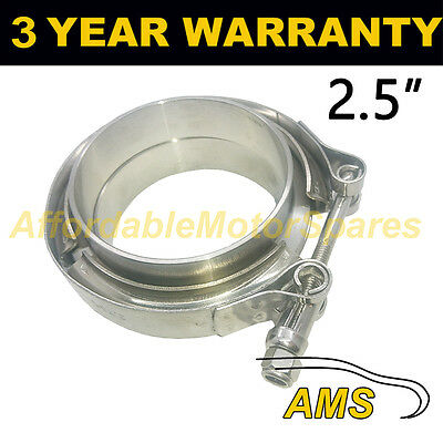 """V-BAND CLAMP + FLANGES COMPLETE STAINLESS STEEL EXHAUST TURBO HOSE 2.5"""" 63.5mm"""