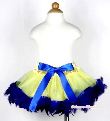 Infant Yellow Mix Blue Feather Newborn Baby Tutu Pettiskirt Skirt Dress NB-2Y
