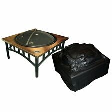 Fire Sense Outdoor Square Fire Pit Vinyl Cover, Black, 38W x 38D x 28H in.