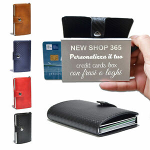 0301433bc2c366 Caricamento dell'immagine in corso Porta-tessere-carte-di-credito- personalizzato-portafoglio-in-