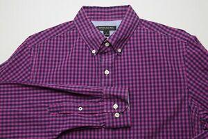 Banana-Republic-Mens-Soft-Wash-Shirt-Size-Large-Tailored-Slim-Fit-Purple-Navy