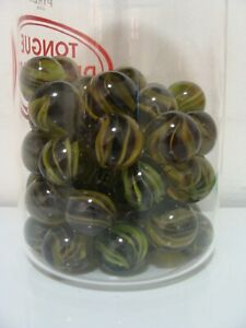 4-Classic-Cats-Eye-Marbles-HTF-Tinted-Base-Green-W-Yellow-Vanes-Shooter-Size