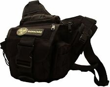 Men's Tactical Daddy Diaper Bag - Black - With Blow Out / Biohazard Morale Patch