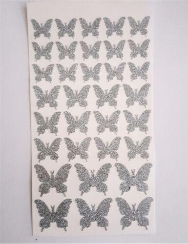 33 Glitterati Sticky Glittery Silver Butterfly Stickers Multi Size 15 to 30 mm