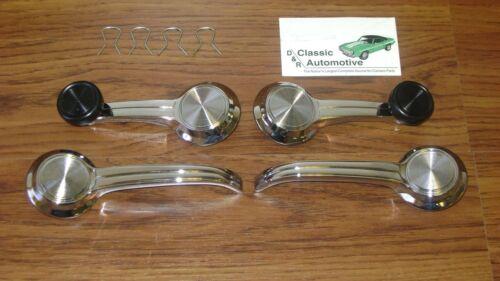 Window Cranks Door Handles 4pc Kit 67 Camaro Chevelle w// black knob Impala