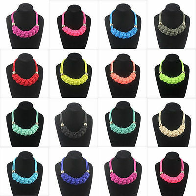 Fashion NEW handmade woven Chinese knot cotton rope Fluorescent color necklace