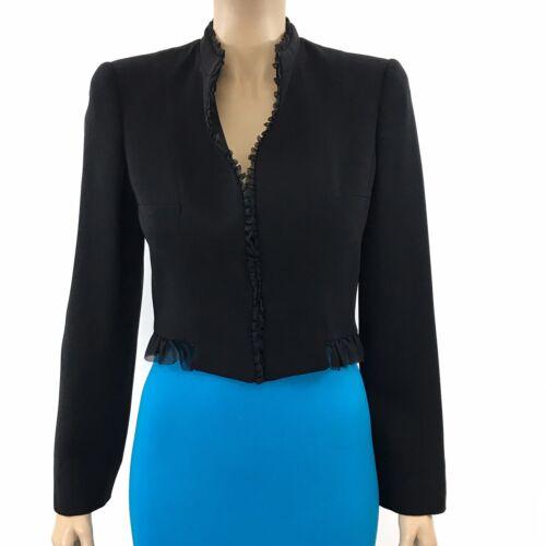 Giorgio Armani Black Silk Cropped Ruffle Jacket Si
