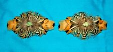 Set 2 Med Feathered Barrettes Pheasant Feathers & Turquoise FREE SHIPPING MBS04