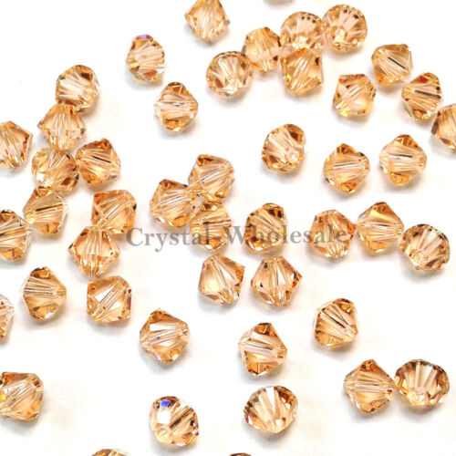 Genuine Swarovski crystal 5328 XILION Bicone Beads 362 4mm Light Peach