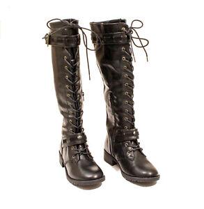 EUC-Shoe-Dazzle-Black-Faux-Leather-Knee-High-Combat-Boots-US-8