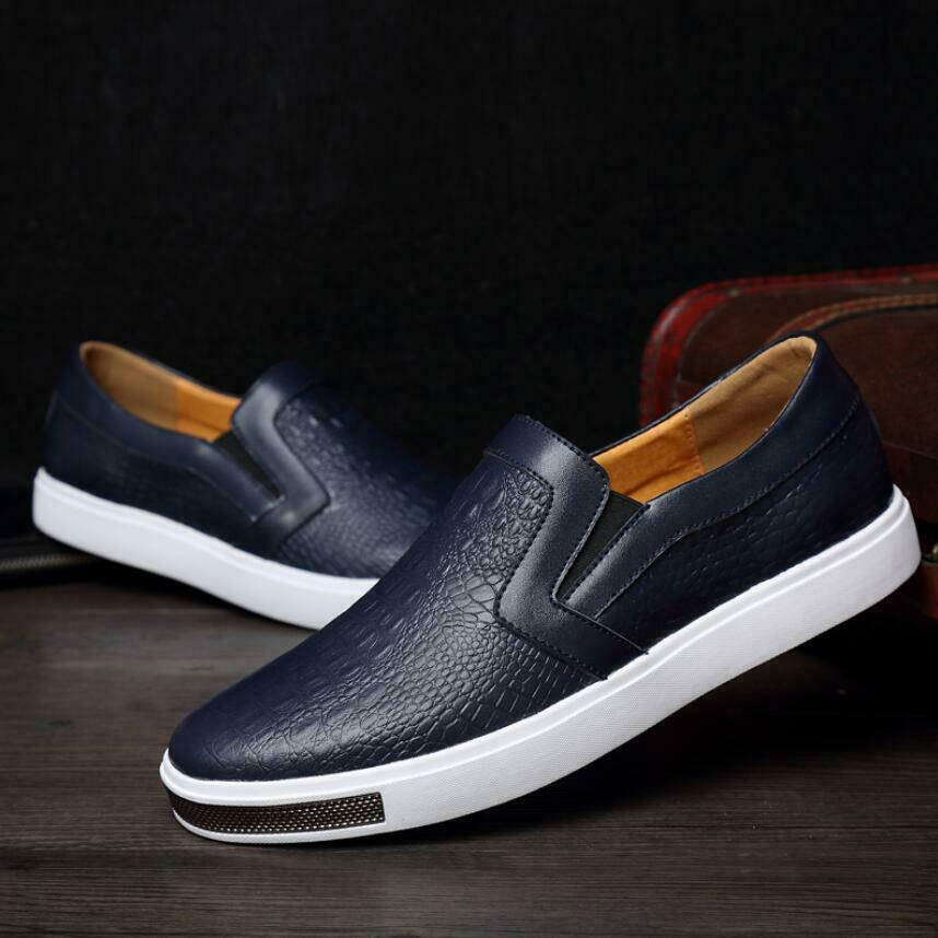 Men Breathable alligator Print Leather Moccasin Casual shoes Slip On Loafers New