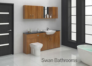 Image Is Loading FRENCH WALNUT BATHROOM FITTED FURNITURE 1800MM WITH WALL