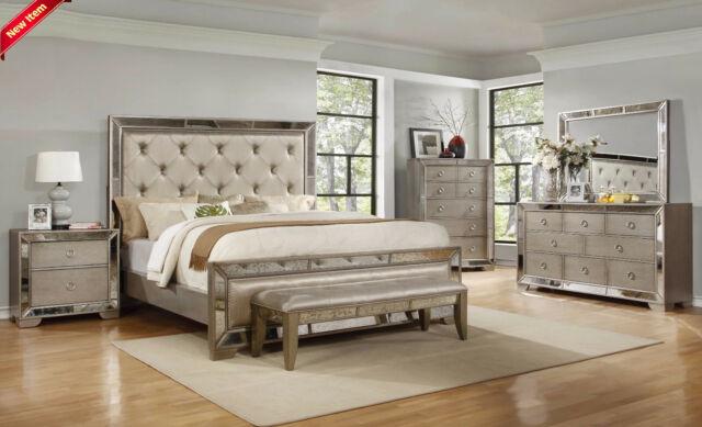 4pc California King Size Bed Solidwood Upholstered HB FB Bedroom Furniture Set
