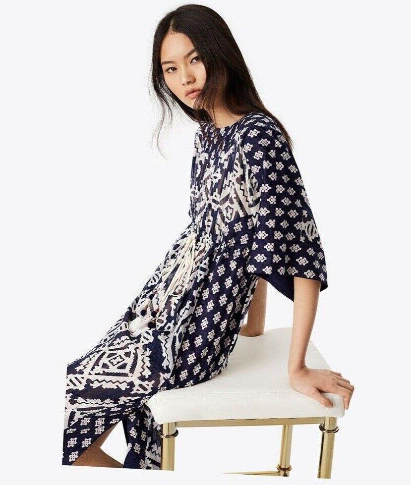 Tory Burch Beatrice Seda Caftan  Dress Maxi Ikat Geo 4 S NUEVO CON ETIQUETAS  548 2018 Tapiz  tienda en linea