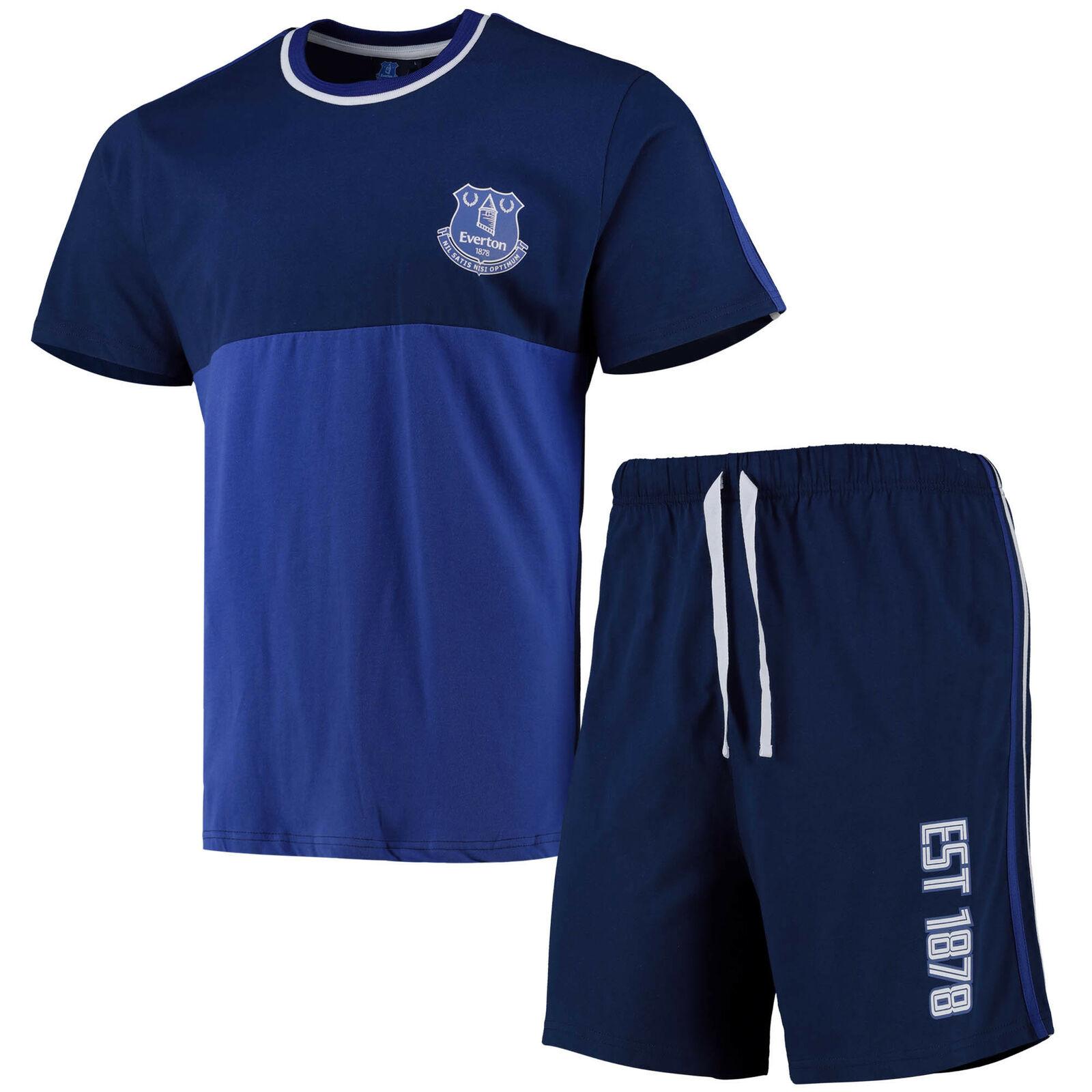 Everton Retro Tipped Short Lounge Set - Shorts and T-Shirt - Navy /Royal - Mens