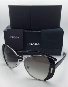 2142e395f245 New PRADA Sunglasses SPR 60S 1AB-0A7 55-16 Silver   Black Frame w ...