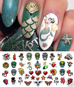 Rockabilly Tattoo Skull Nail Art Decals Assortment 2 Salon