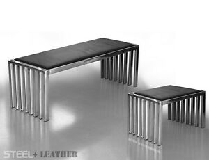 Bauhaus-ACERO-inox-BANCO-BANK-CON-Negro-Cuero-de-vaca-2-longitudes-122-o-42cm