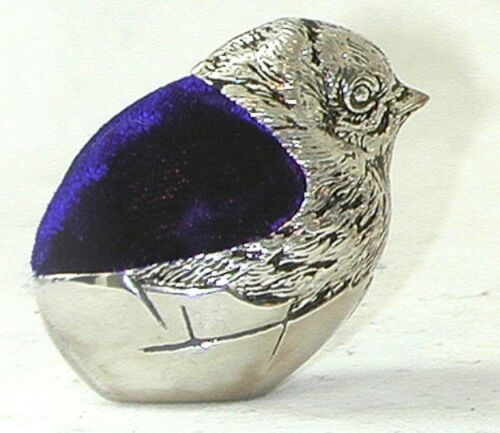 Pin Cushion in shape of little Chick with blue velvet pin pad silver plated