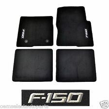 OEM NEW 2012-2014 Ford F-150 CREW CAB Carpet Floor Mats BLACK Embroidered Logo