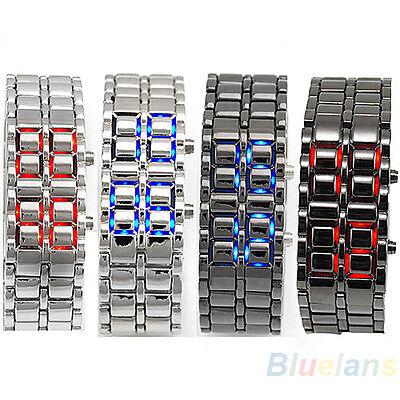 Cool Mens Womens Lava Samurai Iron Metal LED Faceless Bracelet Wristwatch B62U