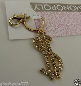 Bling-crystal-Monopoly-bag-tag-key-chain-purse-charm-gold-tone-Money-sign