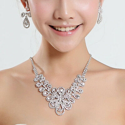 Bridal & Wedding Party Jewelry Sweet-Tempered 26b Bridal Wgp Austrian Crystal Infinity Flower Necklace & Clip Earrings Set
