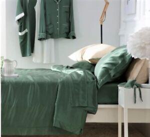 100-SILK-SHEET-Q-Bed-Forest-GREEN-Serene-Sheet-Set-4PCE-A-Grad-22-5Mm-034-SeeNote-BR