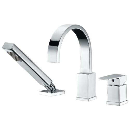 Tub Faucet Single-Handle Deck-Mount with Handheld Sprayer in Polished Chrome