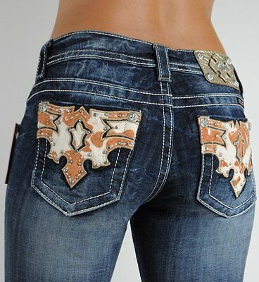 Miss Me Jeans Brown Cow Patch Texas Rodeo Crystals Vintage Wash Boot, 27, Rare