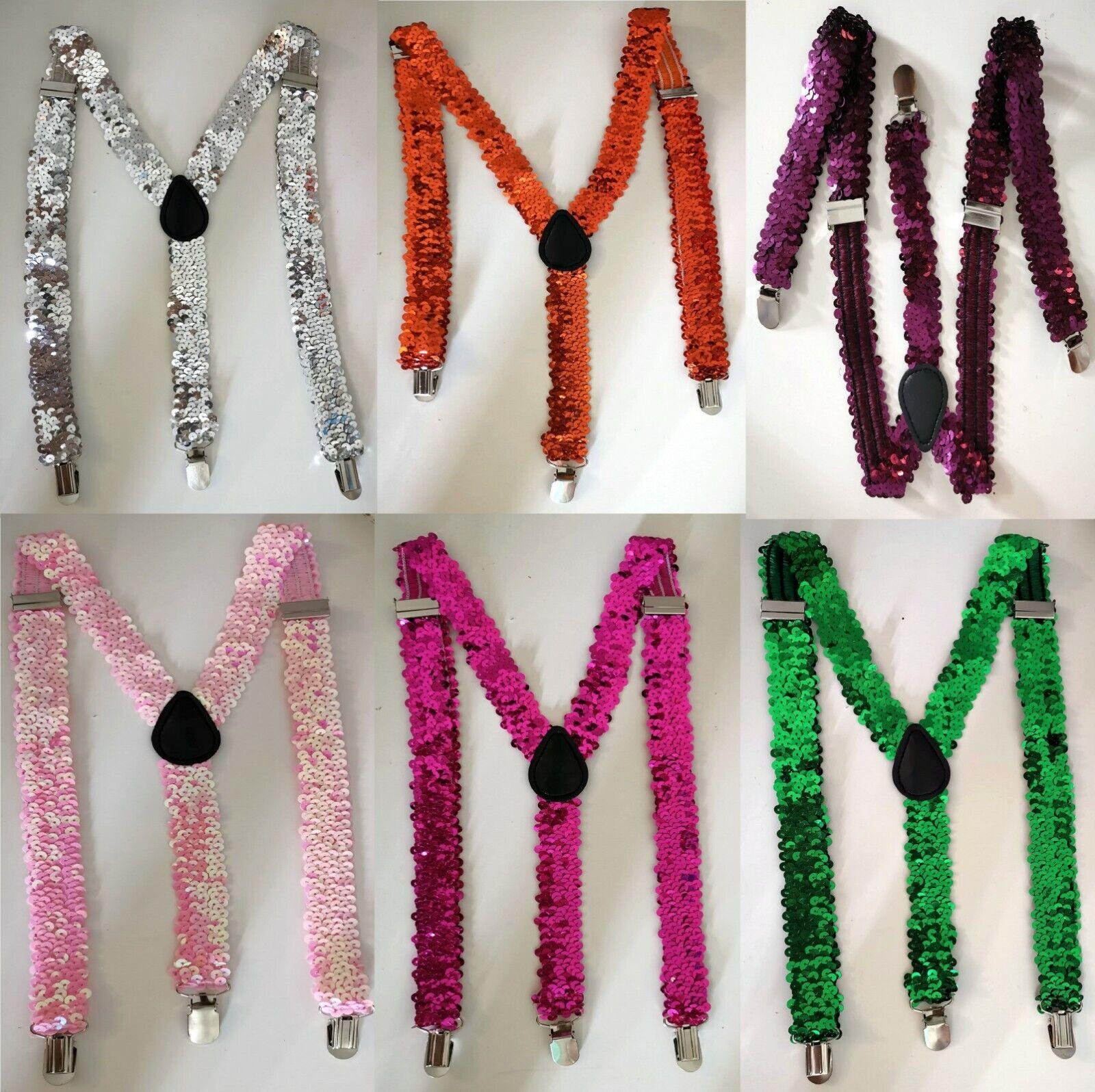 Unisex Men's Women's Adjustable Braces Suspender Glitter Sparkly Sequin Party