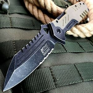 """8.5"""" TACTICAL SPRING OPEN ASSISTED MILITARY POCKET KNIFE FOLDING BLADE TAN EDC"""