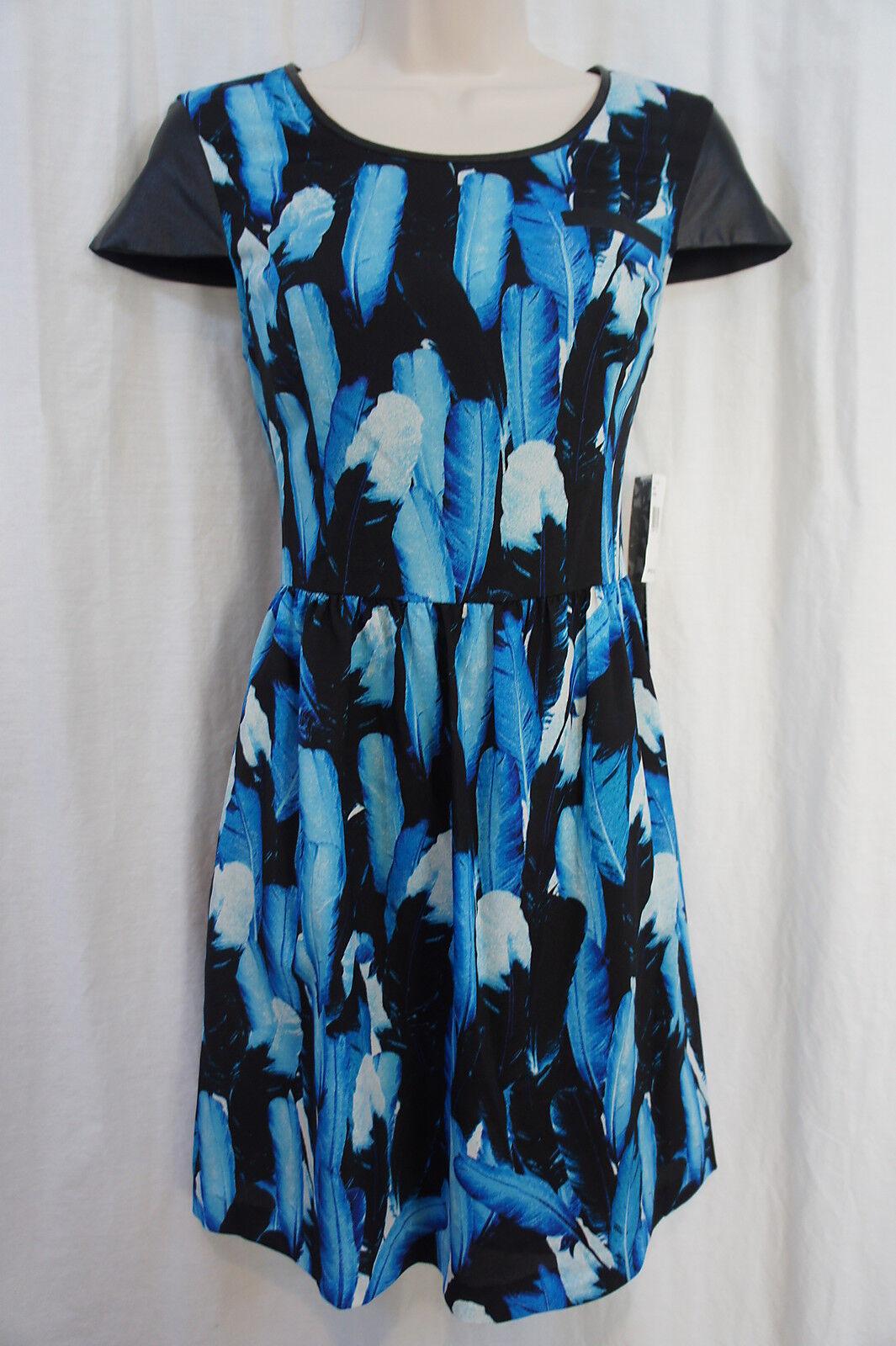 Kensie Dress Sz 10 Blau Cobalt Combo Cap Sleeve Faux Pocket Cocktail Party Dress