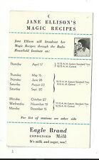Old Advertising Eagle Brand Condensed Milk Jane Ellison Magic Recipes Radio Show