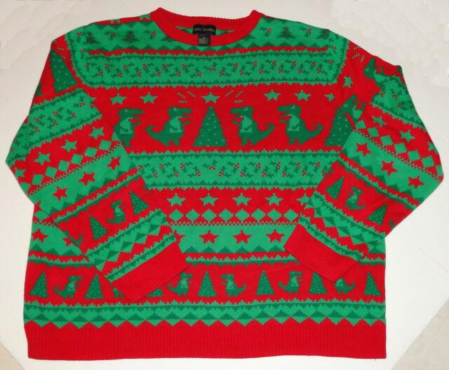 Alex Stevens Mens Dinosaur Reindeer Buffet Ugly Christmas Sweater