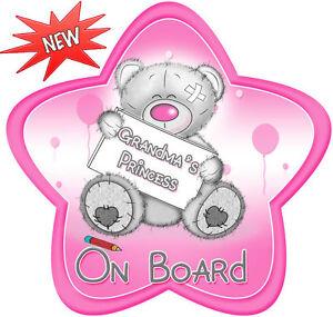 Non-Personalised-Grandma-039-s-Princess-on-Board-Star-Shaped-Car-Sign-Pink-LMM-Bear