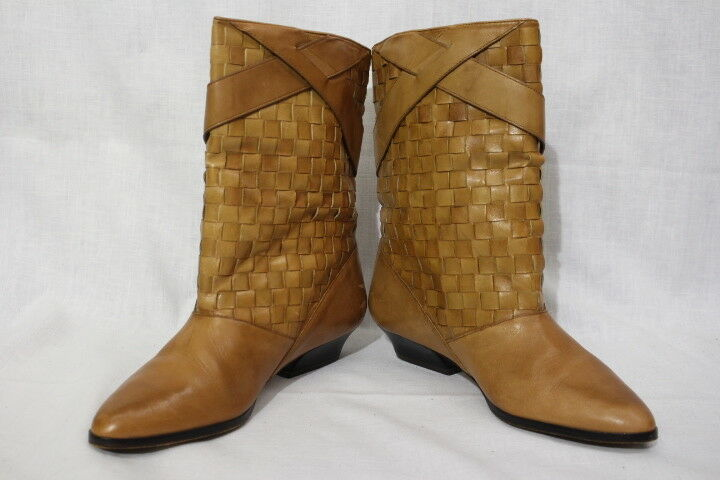 1ST EDITIONS Brown Leather Basket Weave Ankle Boots, Womens 9M, Brazil-B83