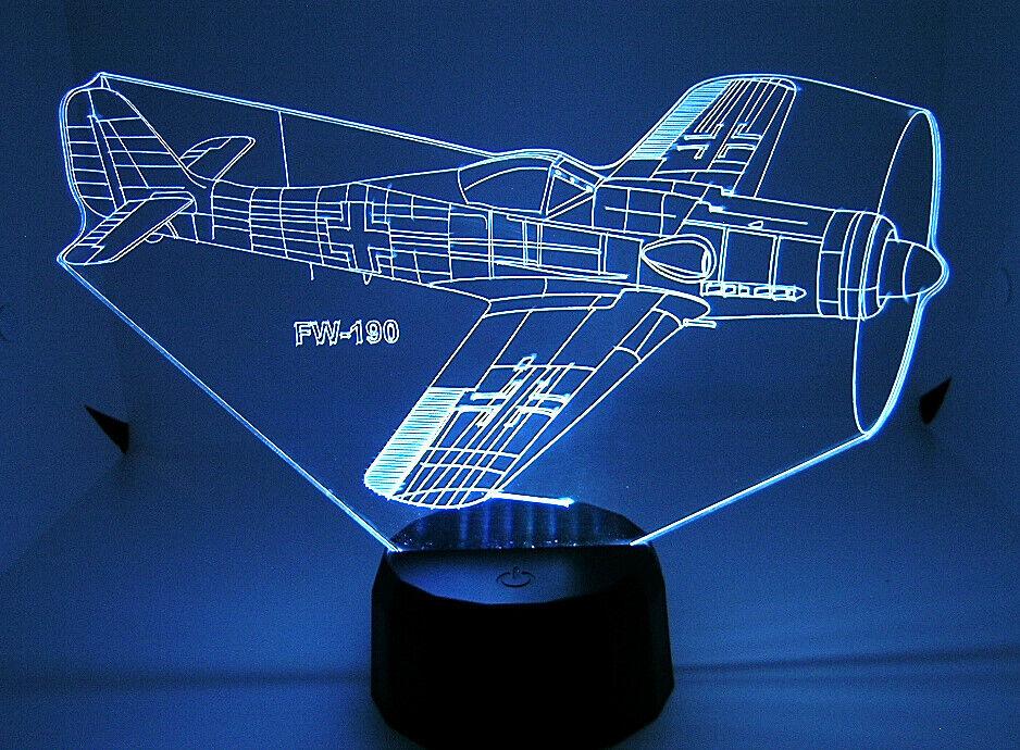 FW 190 RC  Warbird Airplane 3D Acrylic Light with Extras  consegna gratuita e veloce disponibile