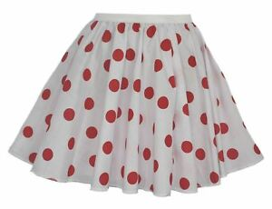Ladies-White-amp-Red-Comic-Relief-15-034-Skater-Skirt-Full-Circle-Red-Nose-Day