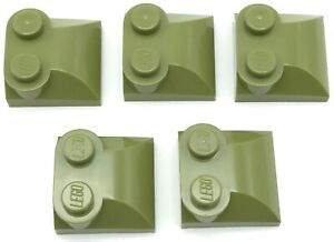 Lego-5-New-Olive-Green-Bricks-Modified-2-x-2-x-2-3-Two-Studs-Curved-Slope