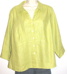 Talbots-Woman-Petites-Green-3-4-Sleeve-Button-Down-Irish-Linen-Shirt-Size-14WP